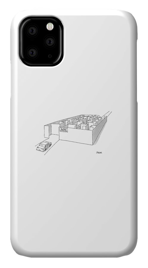 Dmv IPhone Case featuring the drawing A Car Is Entering A Maze Labeled by Jack Ziegler