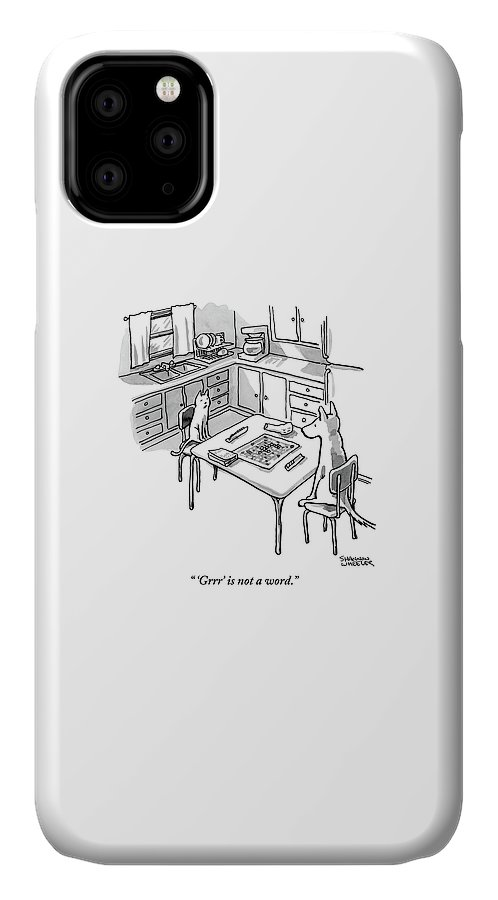 'grrr' Is Not A Word. IPhone Case featuring the drawing A Cat And Dog Play Scrabble In A Kitchen. 'grrr' by Shannon Wheeler