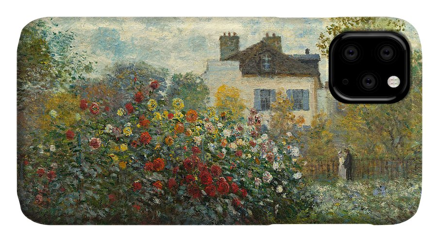 French IPhone 11 Case featuring the painting A Corner Of The Garden With Dahlias by Claude Monet