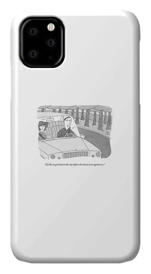Forest IPhone Case featuring the drawing A Couple Drives Along A Forest Road by Peter C. Vey