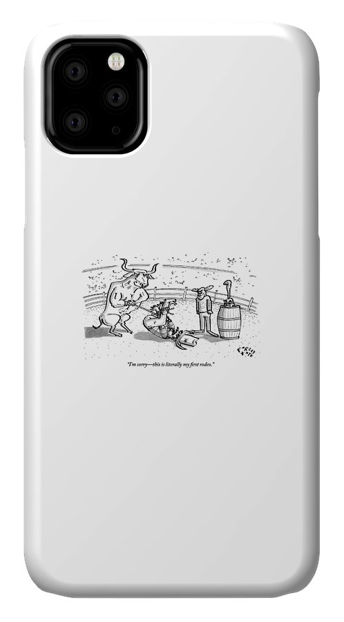 Rodeo IPhone Case featuring the drawing A Cowboy Has Been Hogtied And Subdued by Farley Katz