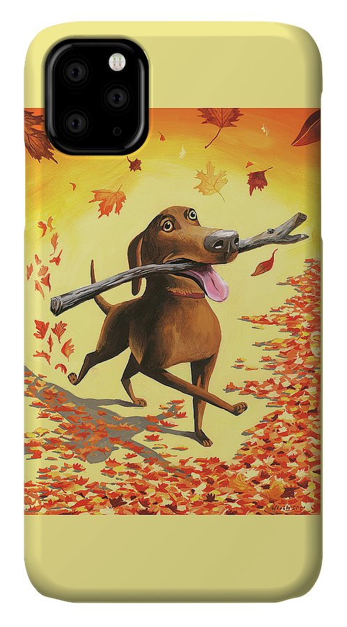 Dog IPhone Case featuring the digital art A Dog Carries A Stick Through Fall Leaves by Mark Ulriksen