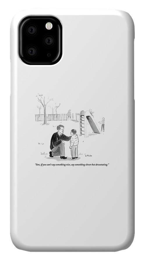 Advice IPhone 11 Case featuring the drawing A Father Encourages His Son At The Playground by Emily Flake