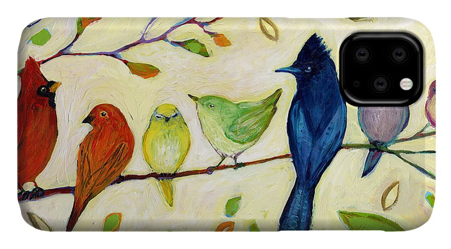 Bird IPhone Case featuring the painting A Flock Of Many Colors by Jennifer Lommers