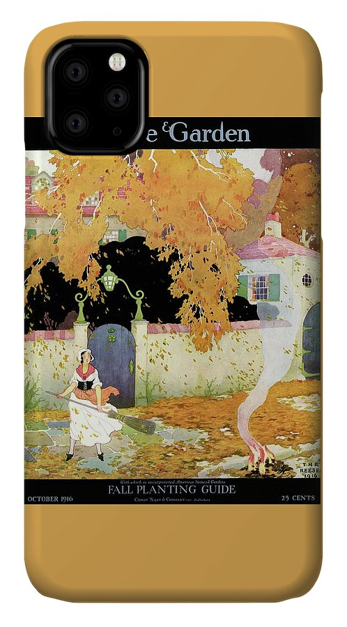 House And Garden IPhone Case featuring the photograph A Girl Sweeping Leaves by The Reeses
