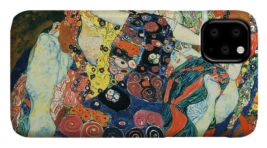 Gustav Klimt IPhone Case featuring the painting The Maiden by Gustav Klimt