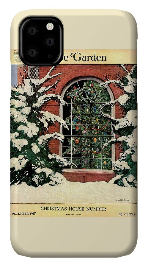 Illustration IPhone Case featuring the photograph A House And Garden Cover Of A Christmas Tree by Ethel Franklin Betts Baines
