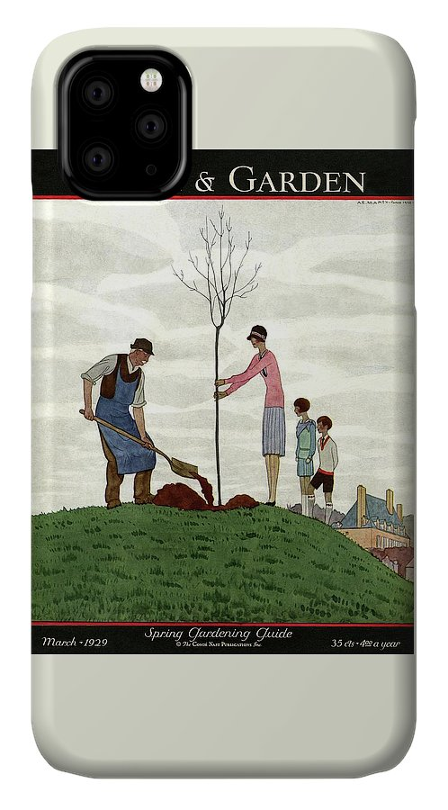 Illustration IPhone Case featuring the photograph A House And Garden Cover Of People Planting by Andre E. Marty