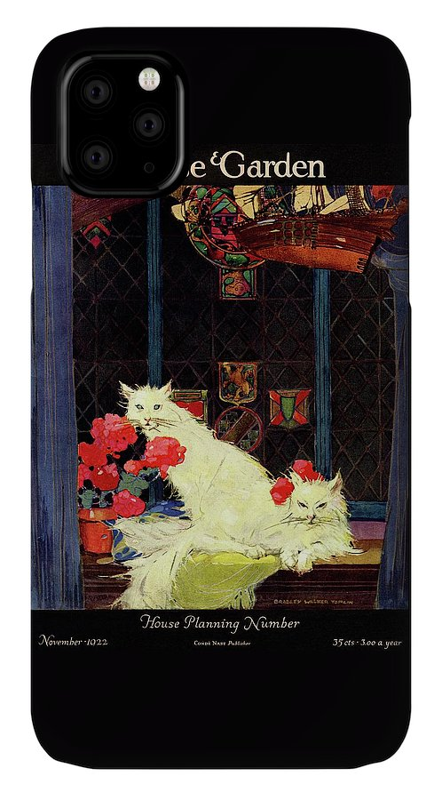 Illustration IPhone 11 Case featuring the photograph A House And Garden Cover Of White Cats by Bradley Walker Tomlin