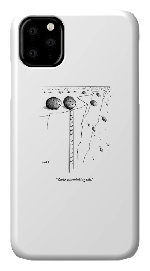 Lemmings IPhone Case featuring the drawing A Lemming Measures The Drop Off Of A Cliff by Julia Suits