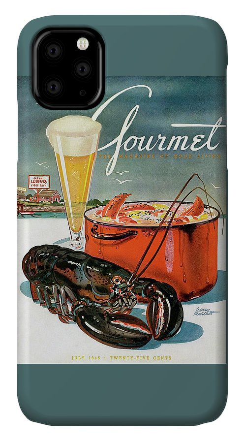 Illustration IPhone 11 Case featuring the photograph A Lobster And A Lobster Pot With Beer by Henry Stahlhut