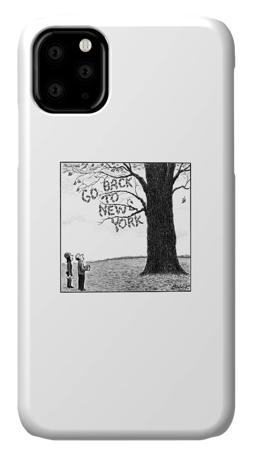 Leaves IPhone Case featuring the drawing A Man And Woman Look At A Single Tree In A Field by Harry Bliss