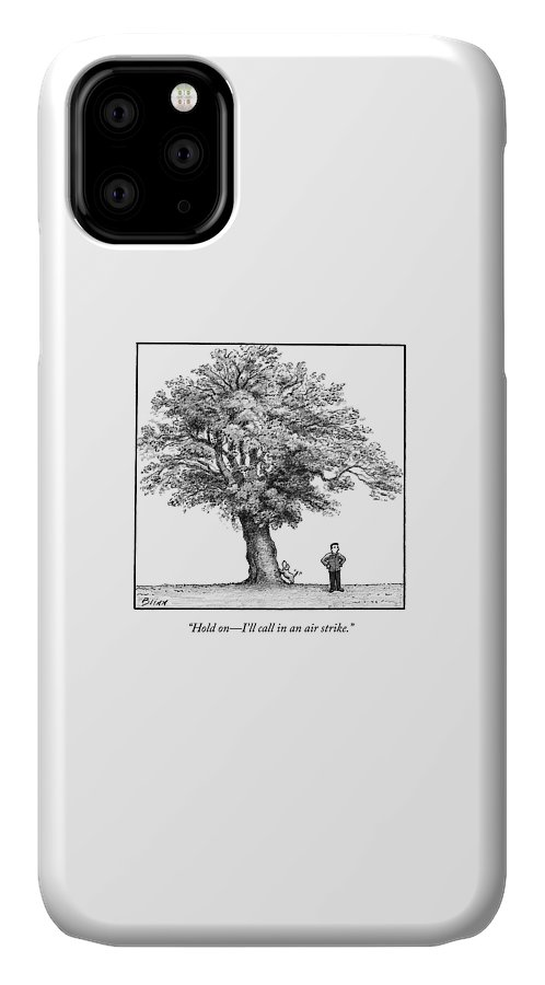Dog IPhone 11 Case featuring the drawing A Man Says To His Dog by Harry Bliss