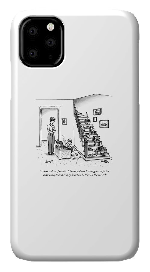 Writer IPhone Case featuring the drawing A Mother Speaks To Her Son by Tom Cheney