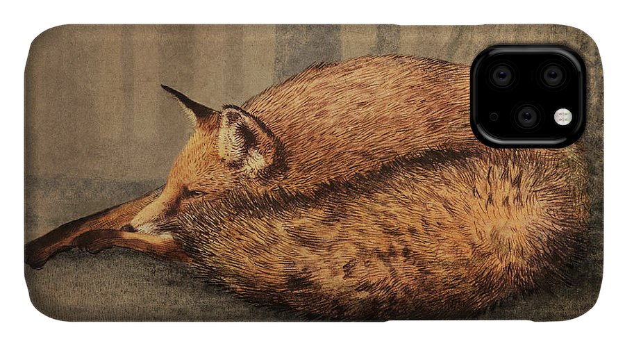 Fox IPhone 11 Case featuring the drawing A Quiet Place by Eric Fan