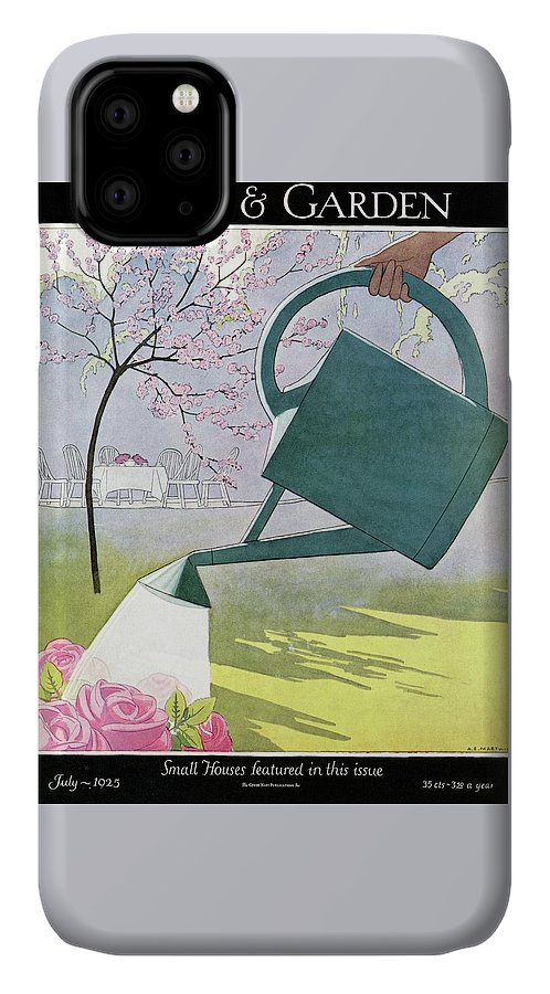 House And Garden IPhone Case featuring the photograph A Watering Can Above Pink Roses by Andre E Marty