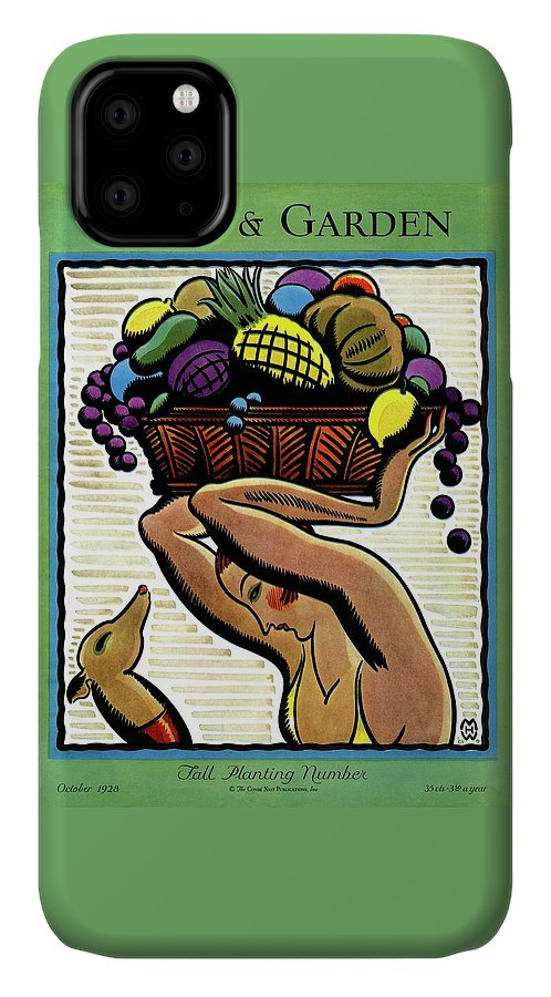 House And Garden IPhone Case featuring the photograph A Woman Holding A Basket Of Fruit by Marion Wildman