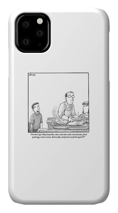 Children IPhone Case featuring the drawing A Young Boy Complains About What's For Dinner by Harry Bliss