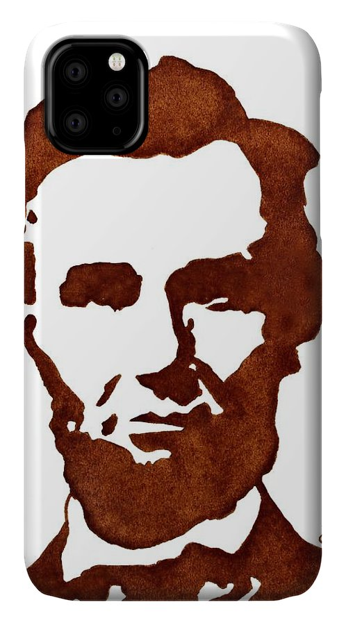 Abraham Lincoln IPhone Case featuring the painting Abraham Lincoln Original Coffee Painting by Georgeta Blanaru