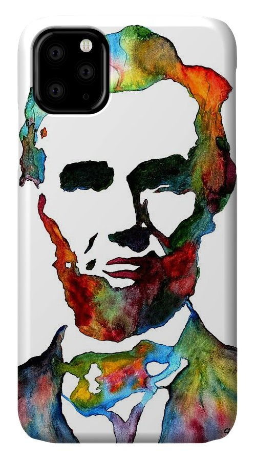 Abraham Lincoln IPhone Case featuring the painting Abraham Lincoln Original Watercolor by Georgeta Blanaru