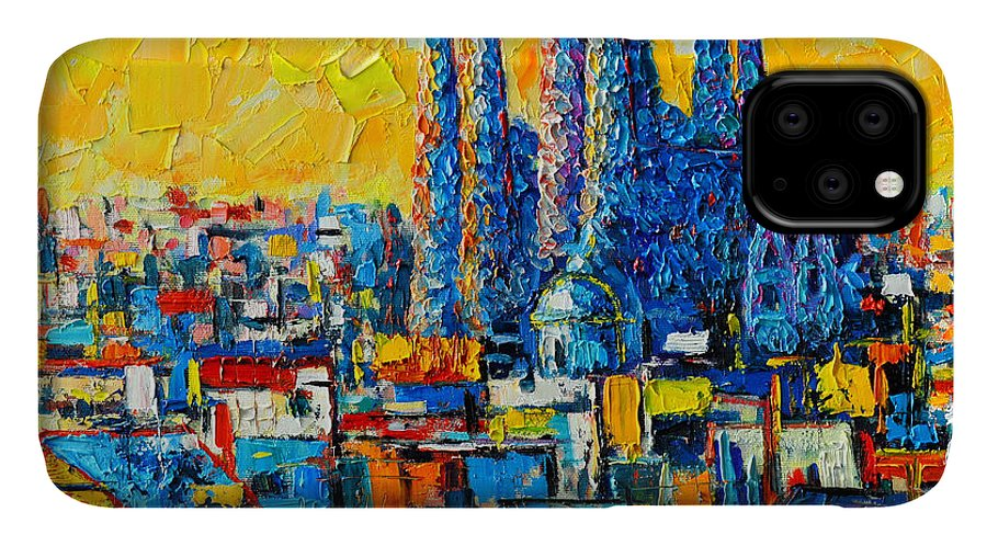 Barcelona IPhone 11 Case featuring the painting Abstract Sunset Over Sagrada Familia In Barcelona by Ana Maria Edulescu