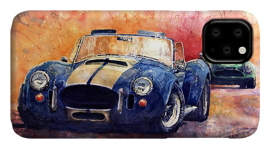 Ac Cobra IPhone Case featuring the painting AC Cobra Shelby 427 by Yuriy Shevchuk