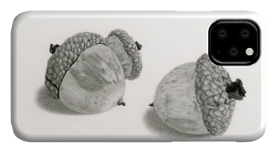 Acorns IPhone 11 Case featuring the drawing Acorns- Black And White by Sarah Batalka