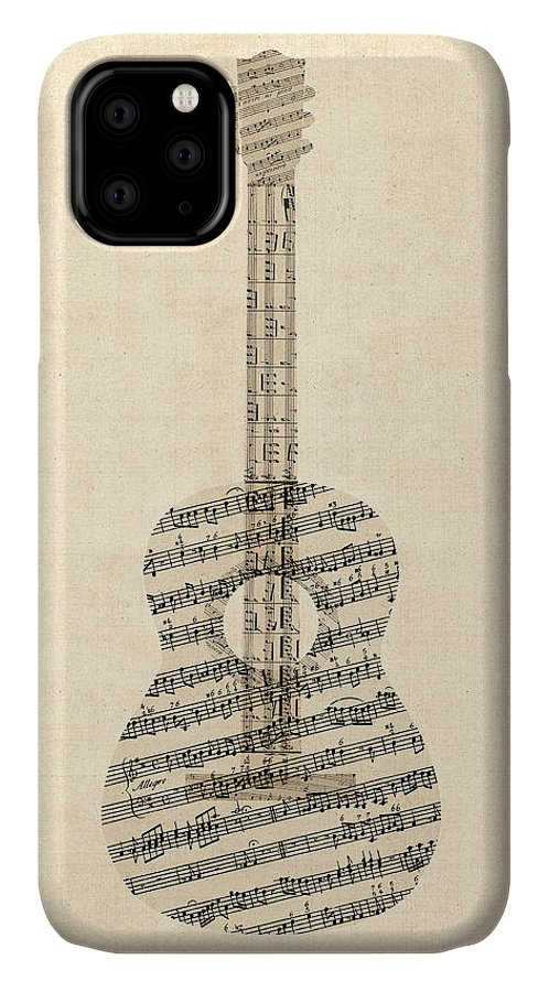 Acoustic Guitar IPhone Case featuring the digital art Acoustic Guitar Old Sheet Music by Michael Tompsett