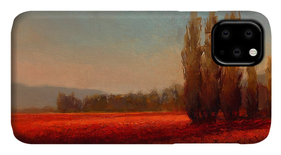 Skagit IPhone 11 Case featuring the painting Across The Tulip Field - Horizontal Landscape by Karen Whitworth