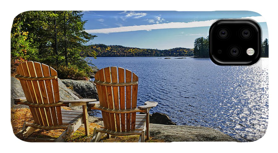 Chairs IPhone 11 Case featuring the photograph Adirondack Chairs At Lake Shore by Elena Elisseeva