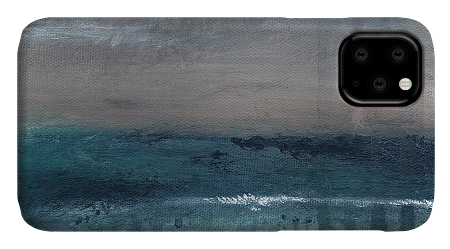 Abstract Landscape IPhone 11 Case featuring the painting After The Storm- Abstract Beach Landscape by Linda Woods