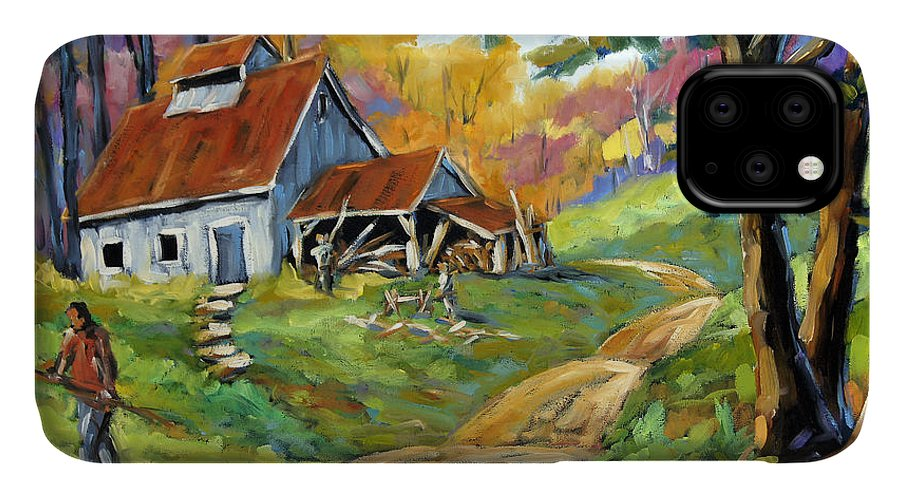 Canadian Landscape Created By Richard T Pranke IPhone 11 Case featuring the painting Afternoon Chores By Prankearts by Richard T Pranke
