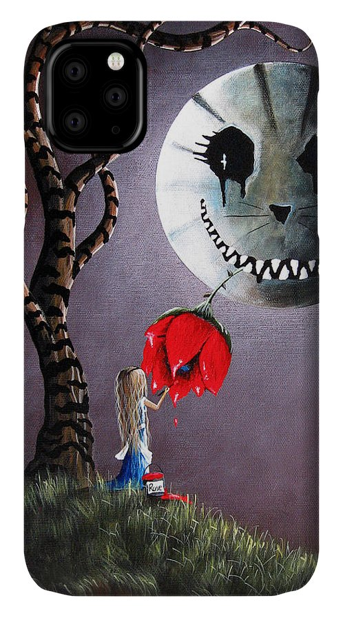 Alice In Wonderland IPhone Case featuring the painting Alice In Wonderland Original Artwork - Alice And The Dripping Rose by Fairy and Fairytale