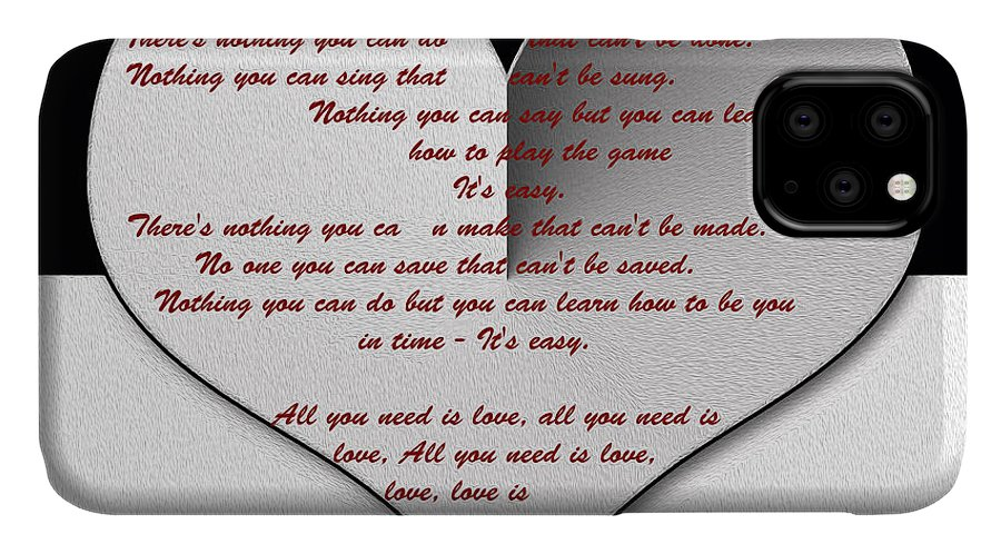 The Beatles Lyrics IPhone Case featuring the painting All You Need Is Love Digital Painting by Georgeta Blanaru