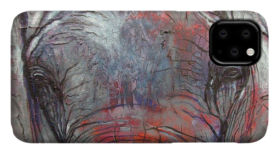 Elephant IPhone Case featuring the painting Alone by Aimee Vance
