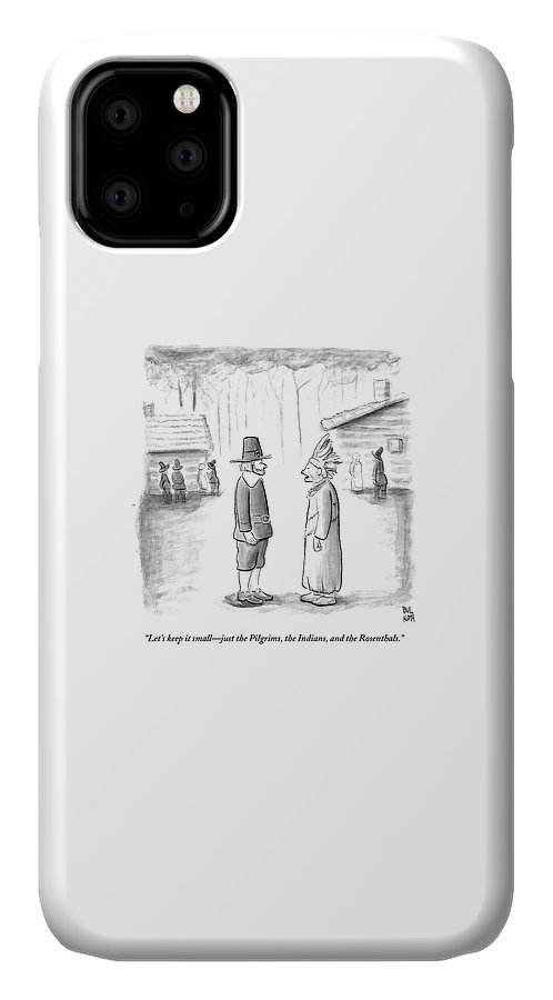 Thanksgiving IPhone Case featuring the drawing An Indian Chief Speaks To A Pilgrim by Paul Noth