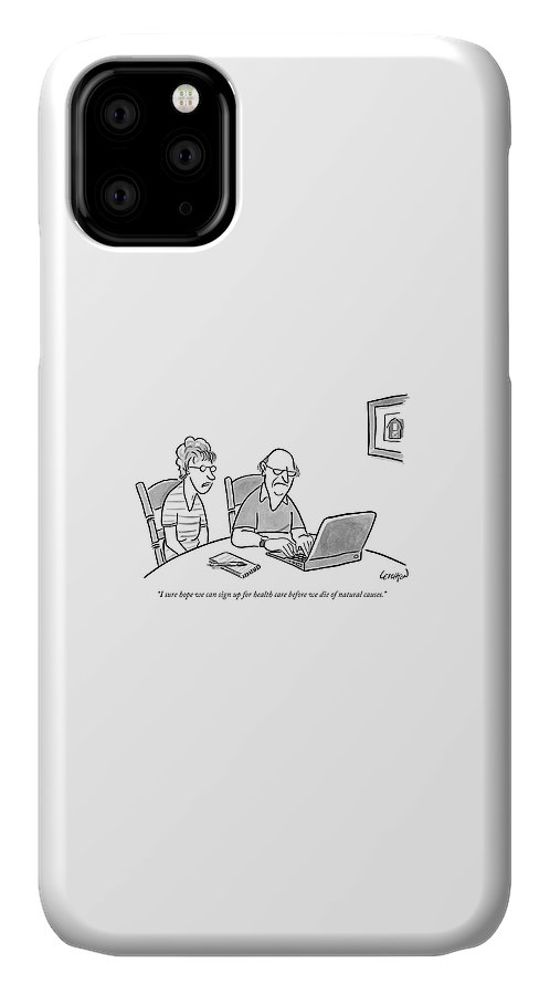 An Old Man And Old Woman Sit At A Laptop IPhone Case