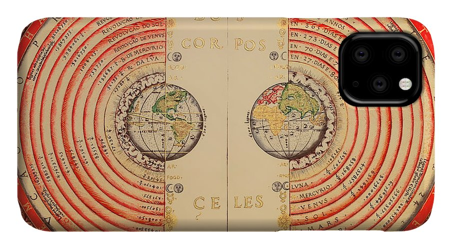 Map IPhone Case featuring the drawing Antique Illustrative Map Of The Ptolemaic Geocentric Model Of The Universe 1568 by Mountain Dreams
