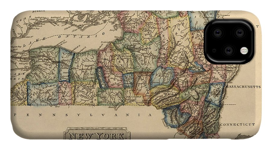 New York State IPhone 11 Case featuring the drawing Antique Map Of New York State By Fielding Lucas - Circa 1817 by Blue Monocle