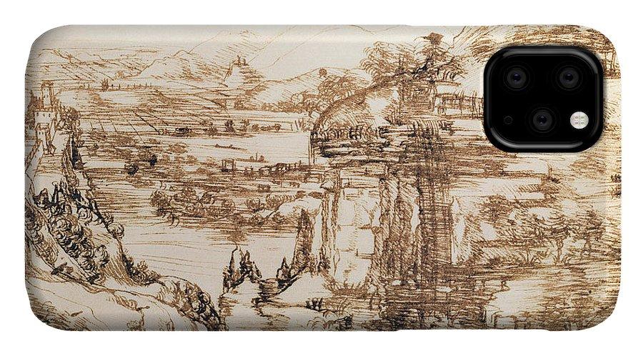 Renaissance IPhone Case featuring the drawing Arno Landscape by Leonardo da Vinci