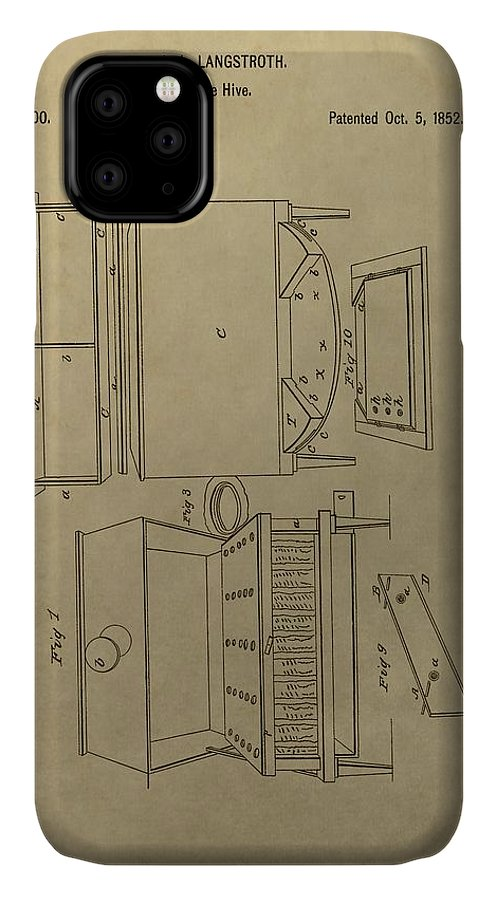 Artificial Bee Hive Patent IPhone Case featuring the drawing Artificial Bee Hive Patent by Dan Sproul