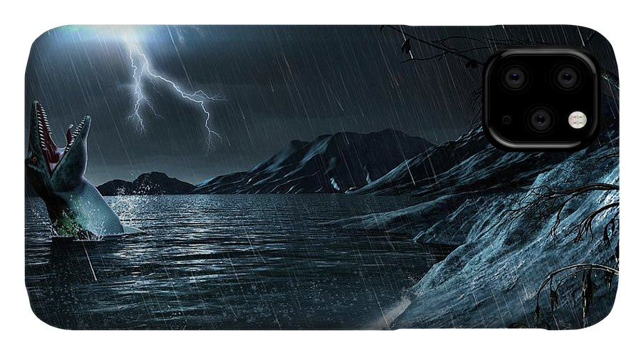 Animal IPhone Case featuring the photograph Artwork Of A Mosasaur by Mark Garlick