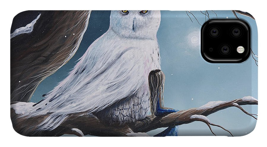 Owl IPhone Case featuring the painting White Snow Owl Painting by Fairy and Fairytale