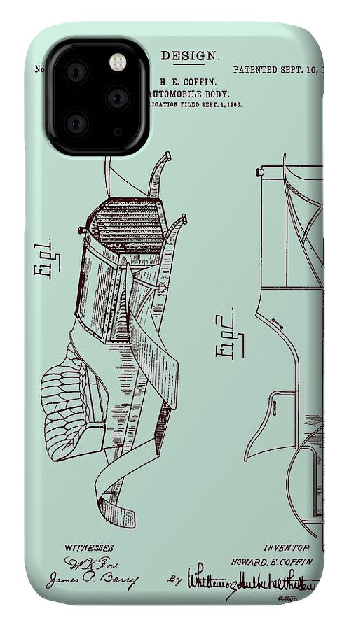 Patent IPhone Case featuring the drawing Automobile Patent 1907 by Mountain Dreams