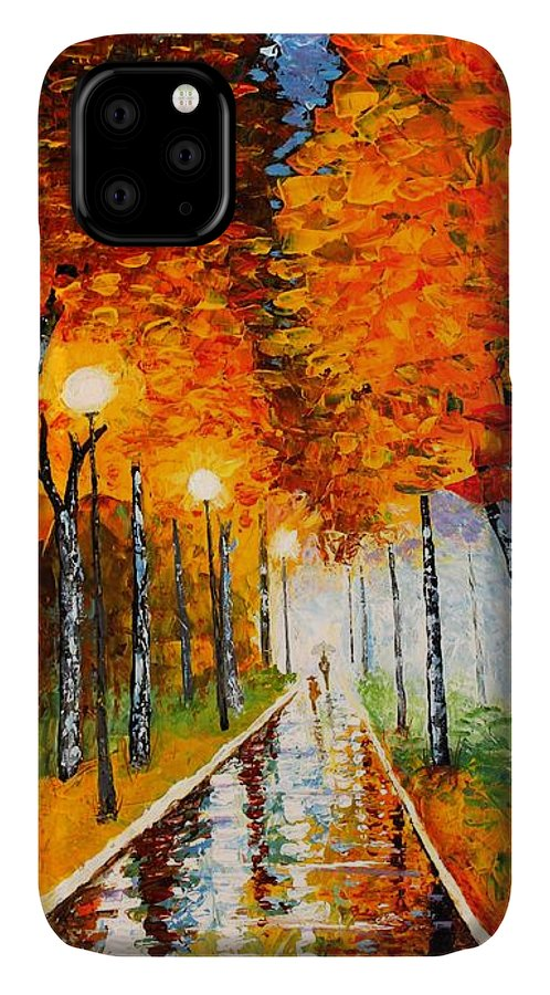 Autumn IPhone Case featuring the painting Autumn Park Night Lights Palette Knife by Georgeta Blanaru