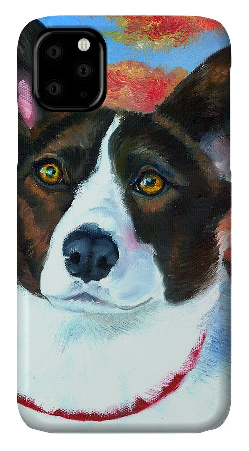 Welsh Corgi Cardigan IPhone 11 Case featuring the painting Autumn Splendor by Lyn Cook