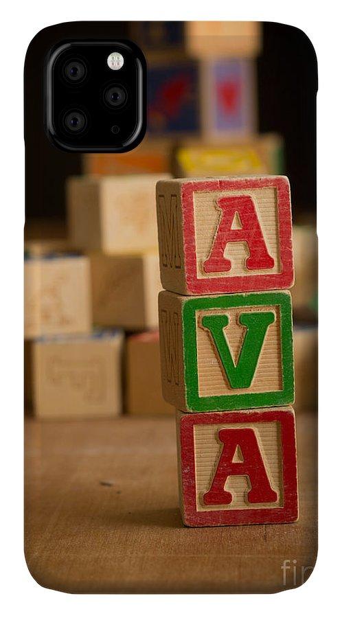 Alphabet IPhone 11 Case featuring the photograph Ava - Alphabet Blocks by Edward Fielding