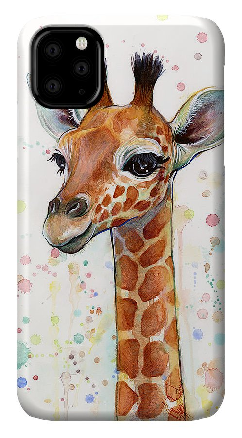 Watercolor IPhone Case featuring the painting Baby Giraffe Watercolor by Olga Shvartsur