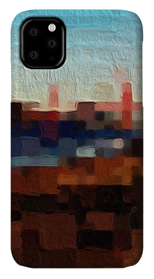 Abstract Art IPhone Case featuring the painting Baker Beach by Linda Woods