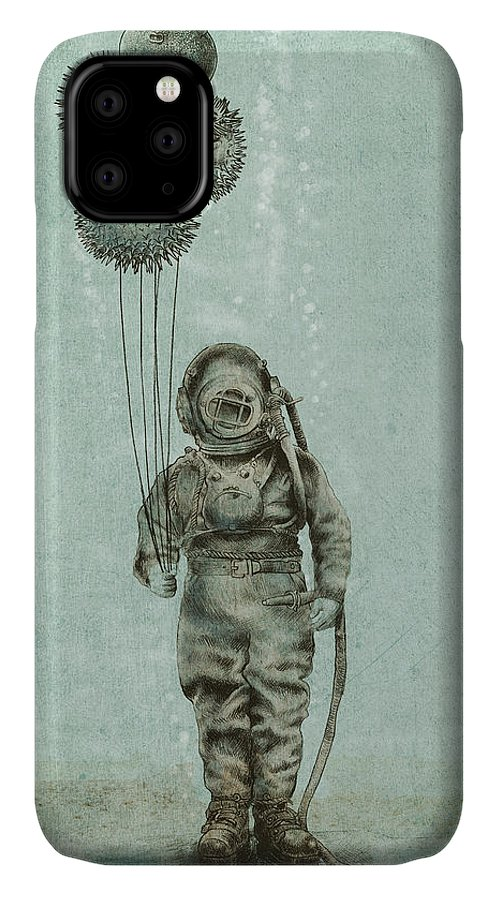 Ocean IPhone Case featuring the drawing Balloon Fish by Eric Fan